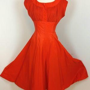 Vintage 40s 50s Sz 16 Pinup Rockabilly Swing Dress